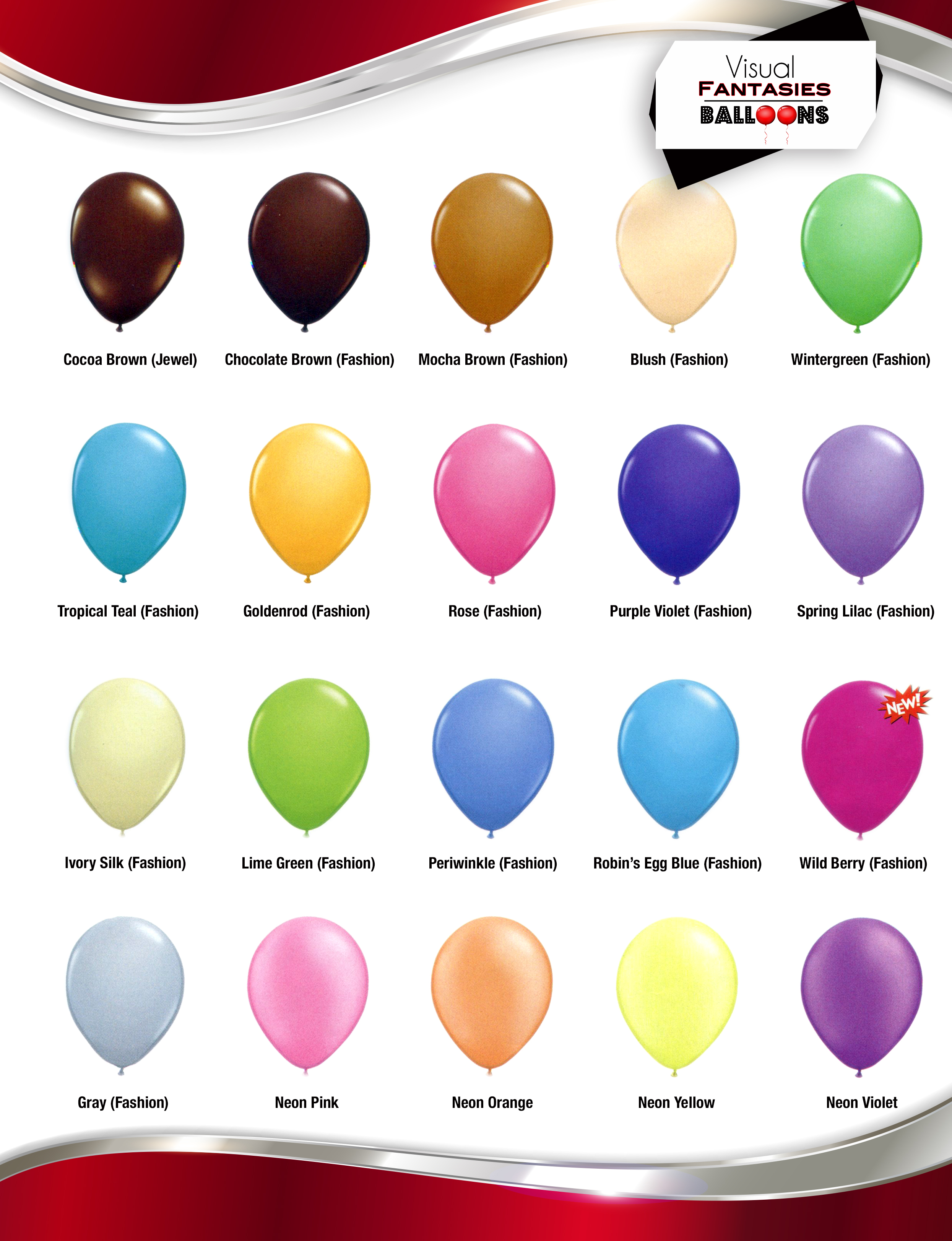 balloon color chart Fashion Jewel Neon