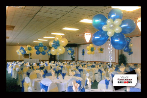 blue yellow white flower centerpieces
